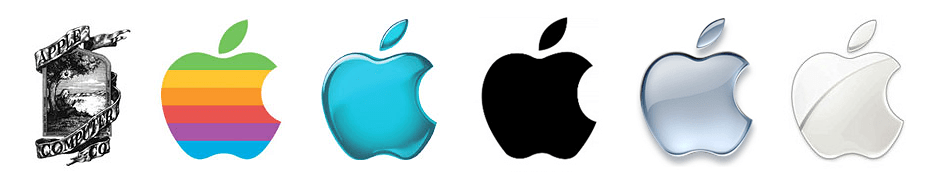 Logo design over the years for Apple
